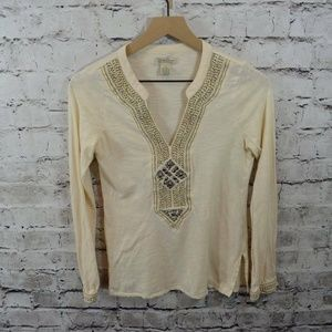Lucky Brand Boho Metallic Embellished Top